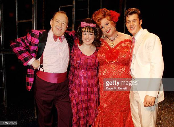 Mel Smith Leanne Jones Michael Ball and Ben JamesEllis pose backstage following the press night of 'Hairspray' at the Shaftesbury Theatre on October...