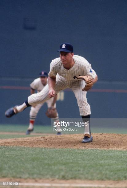 Mel Stottlemyre of the New York Yankees pitches during the All Star Game at Robert F Kennedy Stadium in Washington DC in 1969