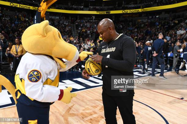 Mel Tucker head football coach at the University of Colorado Boulder attends the game between the Utah Jazz and the Denver Nuggets on February 28...