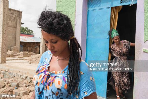 Melaete Gueshe originally from Axum works as a waiteress at a bar in Badme a disputed town on the border between Ethiopia and Eritrea on June 14 2018...