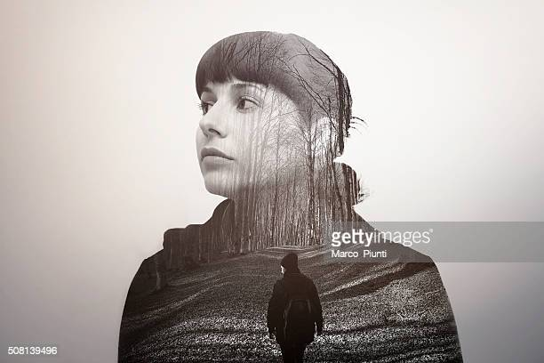 melancholic girl looking into the future - memories stock pictures, royalty-free photos & images