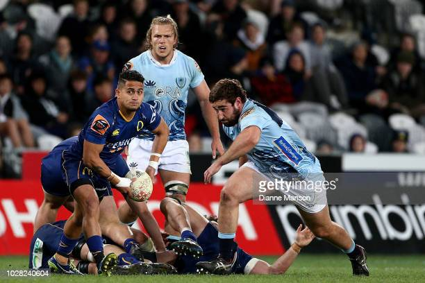 Melani Matavao of Otago passes the ball during the round four Mitre 10 Cup match between Otago and Northland at Forsyth Barr Stadium on September 7...