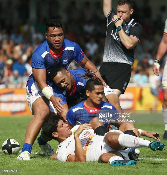 Melani Matavao of Samoa celebrates with team mates after a try during the Germany v Samoa Rugby World Cup 2019 qualifying match on July 14 2018 in...