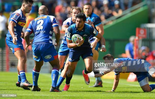 Melani Nanai of the Blues in action during the Super Rugby match between DHL Stormers and Blues at DHL Newlands on March 17 2018 in Cape Town South...