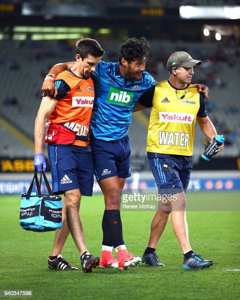 Melani Nanai of the Blues is injured during the round sevens Super Rugby match between the Blues and the Sharks at Eden park on March 31 2018 in...