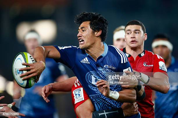 Melani Nanai of the Blues is tackled during the round 17 Super Rugby match between the Blues and the Crusaders at Eden Park on June 6 2015 in...