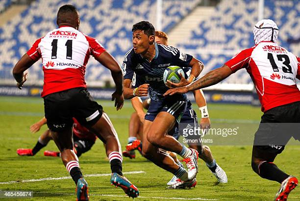 Melani Nanai of The Blues looks to make a break during the round four Super Rugby match between the Blues and the Lions at QBE Stadium on March 7...