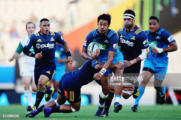Melani Nanai of the Blues makes a break during the round one Super Rugby match between the Blues and the Highlanders at Eden Park on February 26 2016...