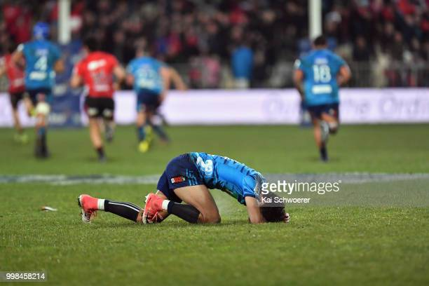 Melani Nanai of the Blues reacts after concesing a try during the round 19 Super Rugby match between the Crusaders and the Blues at AMI Stadium on...