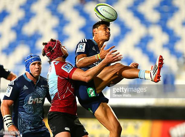 Melani Nanai of The Bulls attempts to catch a high ball during the round four Super Rugby match between the Blues and the Lions at QBE Stadium on...