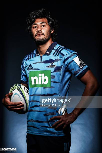 Melani Nanai poses during the Blues Super Rugby headshots session at Blues HQ on January 17 2018 in Auckland New Zealand