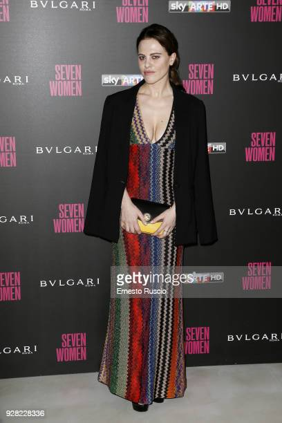 Melania Dalla Costa attends a photocall for 'Seven Women' at Maxxi on March 6 2018 in Rome Italy