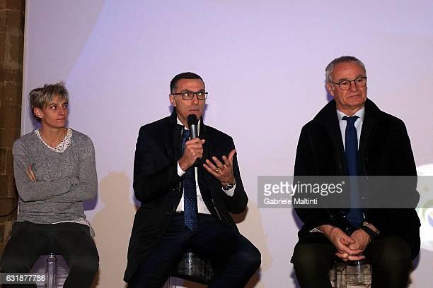 Melania Gabbiadini Giuseppe Bergomi and Claudio Ranieri during the Italian Football Federation Hall of Fame ceremony at Palazzo Vecchio on January 17...