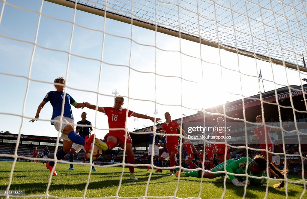 Melania Gabbiadini (L) of Italy fails to score the equalizing goal during the Group B match between Italy and Russia during the UEFA Women's Euro 2017 at Sparta Stadion on July 17, 2017 in Rotterdam, Netherlands.
