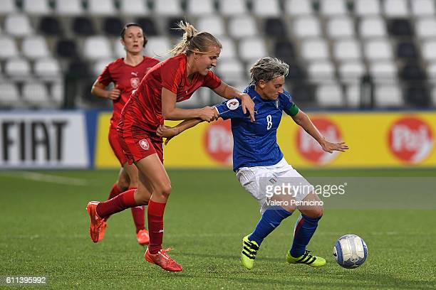 Melania Gabbiadini of Italy is challenged by Klara Cahynova of Czech Republic during the UEFA Women's Euro 2017 Qualifier Group 6 match between Italy...