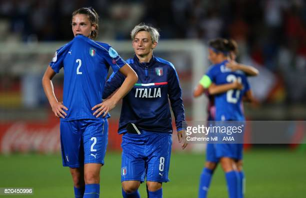 Melania Gabbiadini of Italy Women goes to console a dejected looking Cecilia Salvai of Italy Women during the UEFA Women's Euro 2017 match between...
