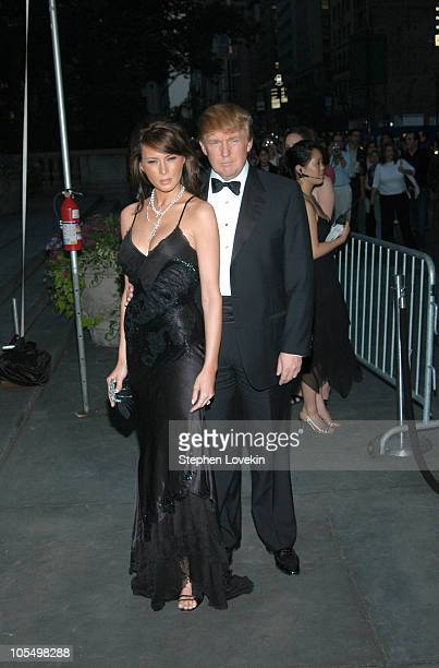 Melania Knauss and Donald Trump during 2004 CFDA Fashion Awards Outside Arrivals at New York Public Library in New York City New York United States