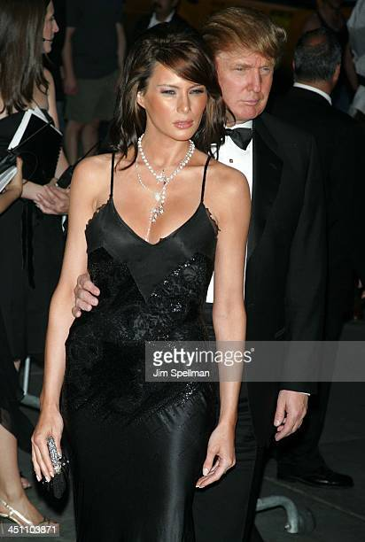 Melania Knauss and Donald Trump during 2004 CFDA Fashion Awards Arrivals at New York Public Library in New York City New York United States