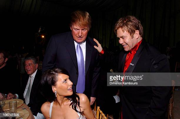 Melania Knauss Donald Trump and Sir Elton John during 12th Annual Elton John AIDS Foundation Oscar Party Cohosted by In Style Inside at Pearl in West...