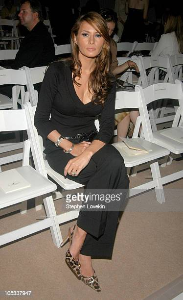 Melania Knauss during Olympus Fashion Week Spring 2005 J Mendel Front Row at Plaza Tent Bryant Park in New York City New York United States