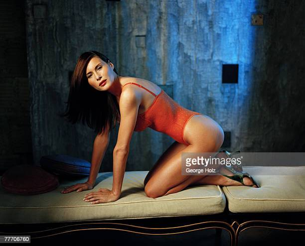Melania Knauss Trump is photographed for FHM Magazine on July 18 2000 at Aracadia Loft in Brooklyn New York