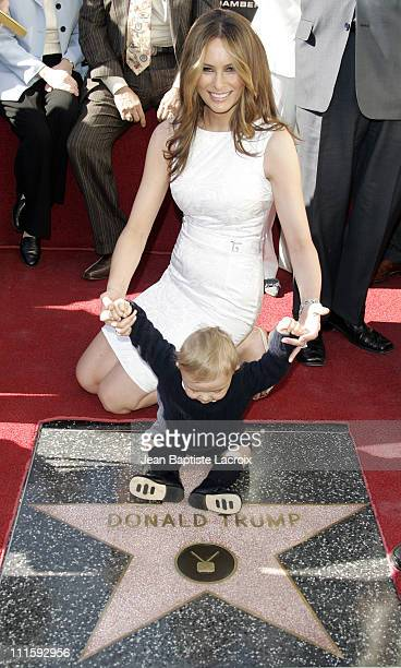 Melania Trump and baby Barron Trump during Donald Trump Honored with Hollywood Walk of Fame Star at Hollywood Boulevard in Hollywood California...
