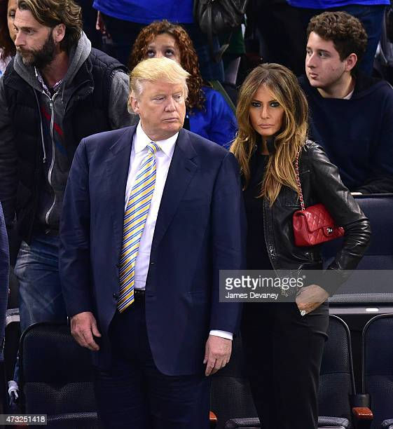 Melania Trump and Donald Trump attend the Washington Capitals vs New York Rangers game at Madison Square Garden on May 13 2015 in New York City