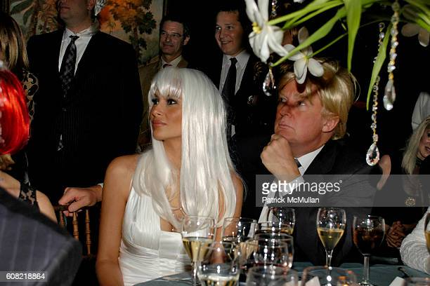 Melania Trump and Donald Trump attend WOODY JOHNSON's Wig Out 60th Birthday Party at Doubles on April 12 2007 in New York City