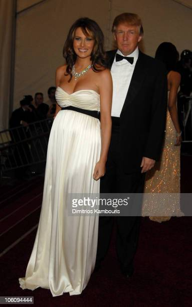 Melania Trump and Donald Trump during AngloMania Costume Institute Gala at The Metropolitan Museum of Art Arrivals Celebrating AngloMania Tradition...