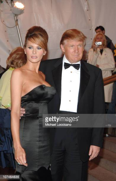 Melania Trump and Donald Trump during Chanel Costume Institute Gala Opening at the Metropolitan Museum of Art Arrivals at Metropolitan Museum of Art...