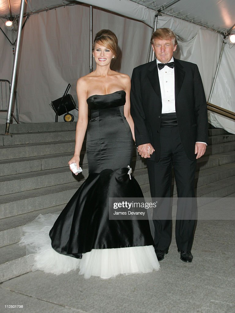 Melania Trump and Donald Trump during 'Chanel' Costume Institute Gala at The Metropolitan Museum of Art - Departures at The Metropolitan Museum of Art in New York City, New York, United States.