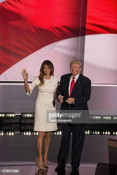 Melania Trump and Donald Trump on the fourth day of the Republican National Convention on July 21 2016 at the Quicken Loans Arena in Cleveland Ohio...