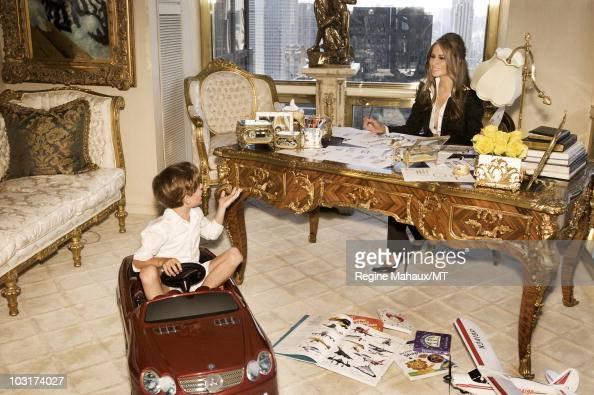 Melania Trump And Her Son Barron Trump Pose For A Portrait