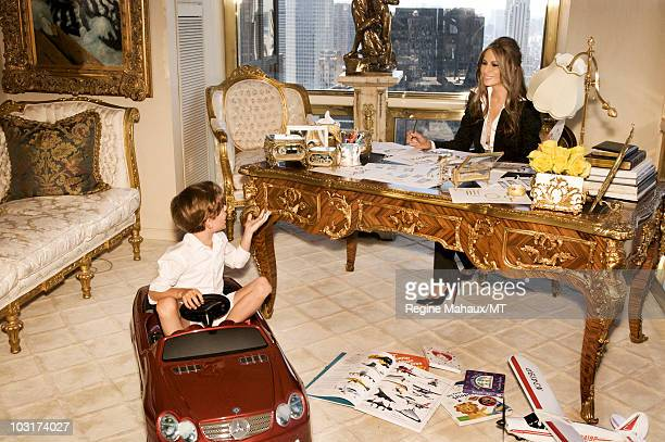 Melania Trump and her son Barron Trump pose for a portrait on April 14, 2010 in New York City. Melania Trump is wearing a suit and shirt by Dolce &...
