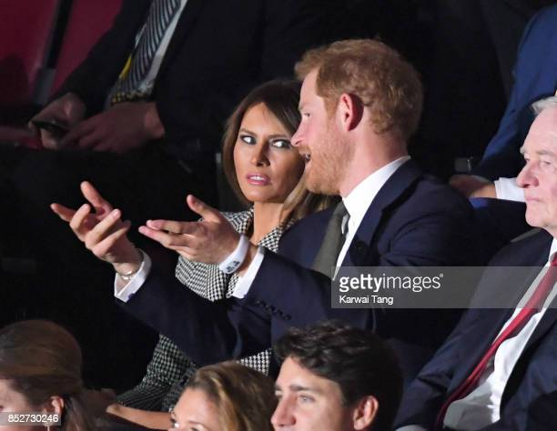Melania Trump and Prince Harry attend the Opening Ceremony of the Invictus Games Toronto 2017 at the Air Canada Arena on September 23 2017 in Toronto...