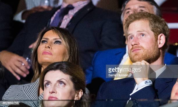 Melania Trump and Prince Harry attend the opening ceremony on day 1 of the Invictus Games Toronto 2017 on September 23 2017 in Toronto Canada The...