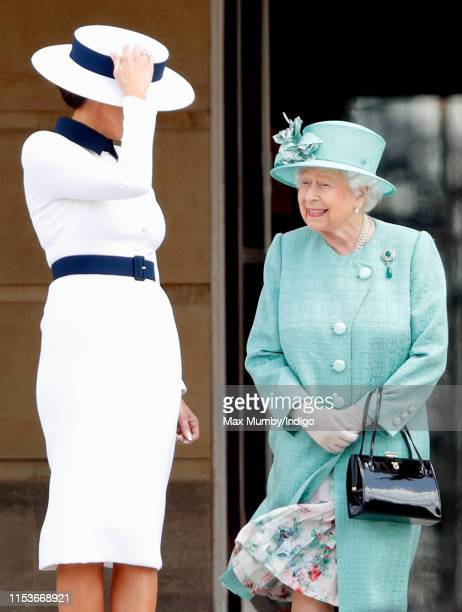 Melania Trump and Queen Elizabeth II attend the Ceremonial Welcome in the Buckingham Palace Garden for President Trump during day 1 of his State...