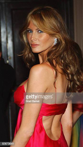 Melania Trump arrives at the Breast Cancer Research Foundation's Annual Hot Pink Party at the WaldorfAstoria on April 20 2005 in New York
