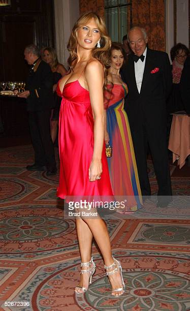 Melania Trump arrives for the Breast Cancer Research Foundation's Annual Hot Pink Party at the WaldorfAstoria on April 20 2005 in New York City