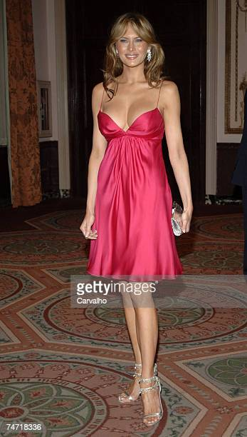 Melania Trump at the The Breast Cancer Research Foundation's Annual Red Hot Pink Party Inside Arrivals at Waldorf Astoria in New York City New York