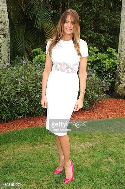 Melania Trump attends the 2014 Trump Invitational Grand Prix at The MaraLago Club on January 5 2014 in Palm Beach Florida