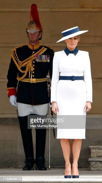 Melania Trump attends the Ceremonial Welcome in the Buckingham Palace Garden for President Trump during day 1 of his State Visit to the UK on June 3,...