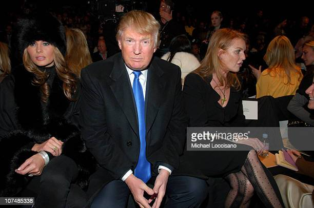 Melania Trump Donald Trump and Sarah Ferguson during MercedesBenz Fashion Week Fall 2007 Michael Kors Front Row and Backstage at The Tent Bryant Park...