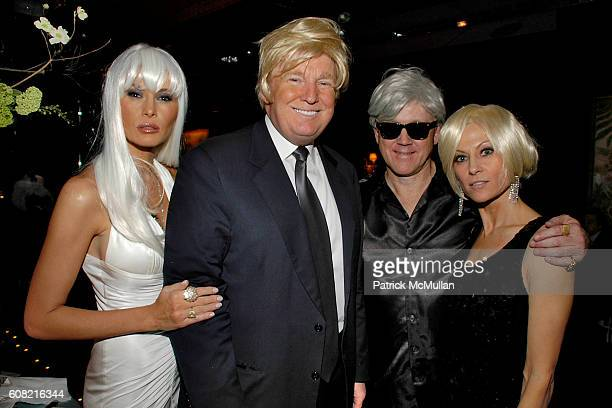 Melania Trump Donald Trump Woody Johnson and Suzanne Ircha attend WOODY JOHNSON's Wig Out 60th Birthday Party at Doubles on April 12 2007 in New York...