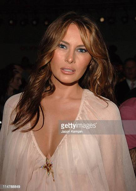 Melania Trump during Olympus Fashion Week Spring 2007 J Mendel Front Row and Backstage at The Promenade Bryant Park in New York City New York United...