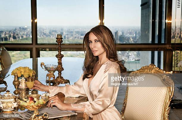 Melania Trump poses for a photo on April 14 2010 in New York City Melania Trump is wearing a silk robe by La Perla makeup by Mykel Renner for Kett...