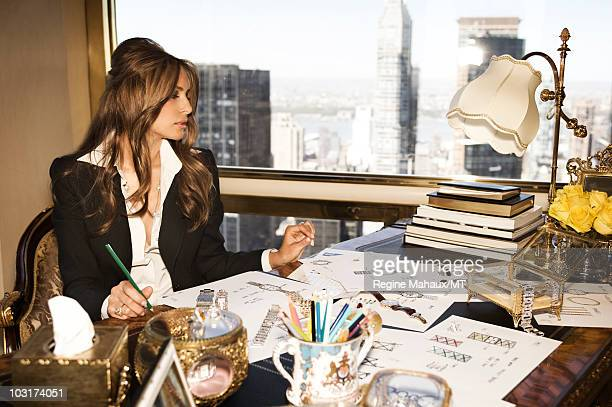 Melania Trump poses for a portrait on April 14 2010 in New York City Melania Trump is wearing a suit and shirt by Dolce Gabbana shoes by Christian...
