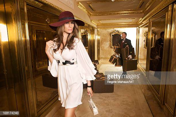 Melania Trump poses for a portrait on April 14 2010 in New York City Melania Trump is wearing a dress by Single shoes by Christian Louboutian hat by...