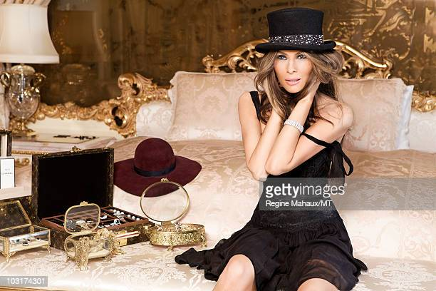 Melania Trump poses for a portrait on April 14 2010 in New York City Melania Trump is wearing a dress by Dolce Gabbana shoes by Manolo Blahnik hat by...