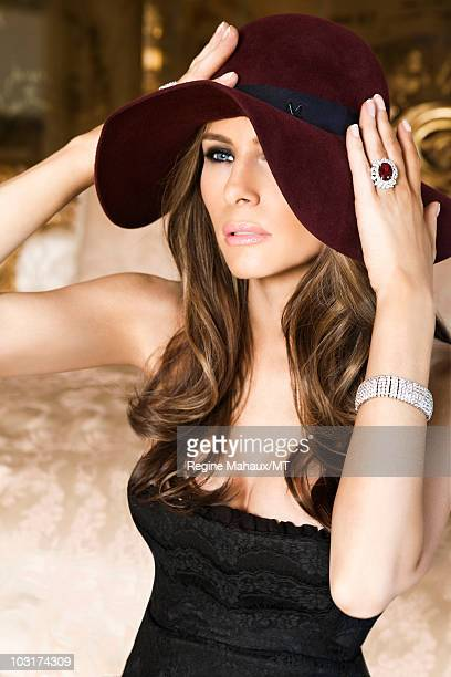 Melania Trump poses for a portrait on April 14, 2010 in New York City. Melania Trump is wearing a dress by Dolce & Gabbana, shoes by Manolo Blahnik,...